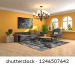 interior of the living room. 3d ...   Shutterstock . vector #1246507642