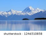 View of Aoraki / Mount Cook from Lake Pukaki, South Island, New Zealand. Landscapes of New Zealand
