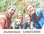 happy trekkers people taking... | Shutterstock . vector #1246515055