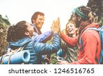 group of happy trekkers... | Shutterstock . vector #1246516765