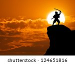 samurai on top of mountain.... | Shutterstock . vector #124651816