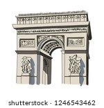 arc de triomphe isolated vector ... | Shutterstock .eps vector #1246543462