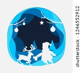 silhouette of santa claus and... | Shutterstock .eps vector #1246552912