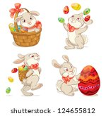 Happy Easter. Cute Easter bunny sitting in a basket, juggling with easter eggs, decorated Easter Egg, throws eggs. Vector illustration. Set. Isolated on white background