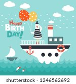 funny sea gull on ship with... | Shutterstock .eps vector #1246562692