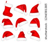 christmas santa claus hats with ... | Shutterstock .eps vector #1246581385