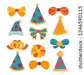 party hat and bow vector design | Shutterstock .eps vector #1246590115