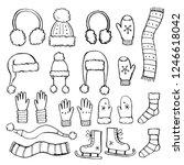 hand drawn set of winter... | Shutterstock .eps vector #1246618042