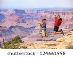 happy people jumping in grand... | Shutterstock . vector #124661998