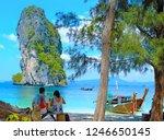 beach resort family on poda... | Shutterstock . vector #1246650145