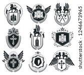 vintage emblems  vector... | Shutterstock .eps vector #1246673965