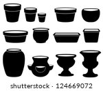 vector - Flowerpots, Pottery. Clay pots, saucers, bulb pan, bonsai pan, azalea pot, round, square planters, strawberry jar, vase, 2 urns. Isolated on white. For do it yourself garden, patio projects.