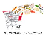 different food products falling ...   Shutterstock . vector #1246699825