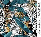 seamless pattern. jaguars and a ... | Shutterstock .eps vector #1246699945