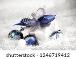 christmas gift and blue... | Shutterstock . vector #1246719412