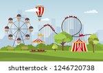 amusement park vector... | Shutterstock .eps vector #1246720738