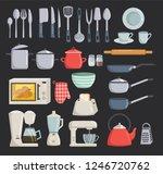 big set of kitchen tools vector ... | Shutterstock .eps vector #1246720762