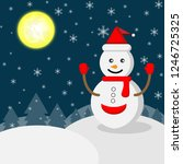 vector of white snowman wearing ... | Shutterstock .eps vector #1246725325
