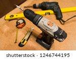 selective focus on cordless... | Shutterstock . vector #1246744195