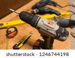 selective focus on cordless... | Shutterstock . vector #1246744198