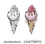 vector sketch of food ...   Shutterstock .eps vector #1246758952