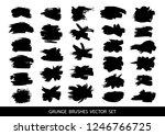 set of black paint  ink brush... | Shutterstock .eps vector #1246766725