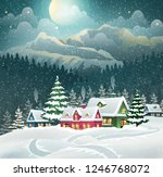 evening village winter... | Shutterstock .eps vector #1246768072