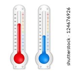 two thermometers on white... | Shutterstock .eps vector #124676926