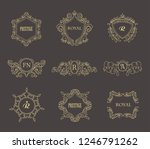 set of line gold monograms.... | Shutterstock .eps vector #1246791262