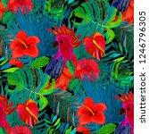 summer exotic seamless pattern. ... | Shutterstock . vector #1246796305
