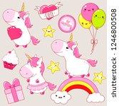 set of cute unicorns in kawaii...   Shutterstock .eps vector #1246800508