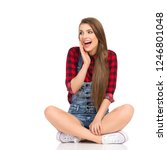 young woman in red lumberjack... | Shutterstock . vector #1246801048