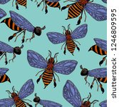 seamless pattern with hand... | Shutterstock . vector #1246809595