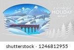 train moving across a snowy... | Shutterstock .eps vector #1246812955