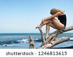 girl with slim body in swimsuit ... | Shutterstock . vector #1246813615