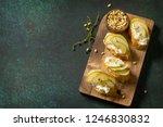 antipasti snacks for wine.... | Shutterstock . vector #1246830832