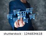 man hand basket in screen | Shutterstock . vector #1246834618