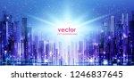 city skyline silhouette at... | Shutterstock .eps vector #1246837645