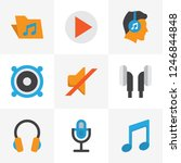multimedia icons flat style set ... | Shutterstock .eps vector #1246844848