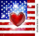 Flag of America patriotic background with pyrotechnic or light burst and love heart in the centre - stock photo