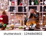 blonde girl freelancer sitting... | Shutterstock . vector #1246860802