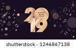 happy new year 2019. modern... | Shutterstock .eps vector #1246867138