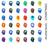 flat icons set of human mind...