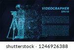 cameraman of blue glowing dots. ... | Shutterstock .eps vector #1246926388