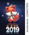 vector illustration funny fox... | Shutterstock .eps vector #1246927852
