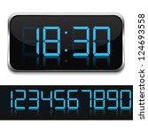blue digital clock  vector... | Shutterstock .eps vector #124693558