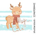 hand drawn cute deer with a... | Shutterstock .eps vector #1246938442