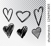 hearts hand drawn set isolated.... | Shutterstock .eps vector #1246941805