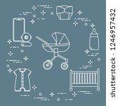 goods for babies. stroller ... | Shutterstock .eps vector #1246957432