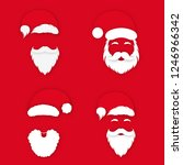 santa claus in hat on red... | Shutterstock .eps vector #1246966342